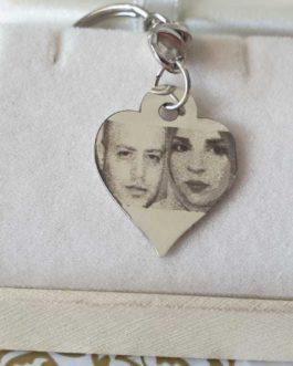 מחזיק מפתחות עם תליון לב כסף 925 לחריטת תמונה והקדשה אישית