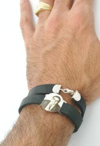 צמיד עור כסף 925 לגבר עם חריטת תמונה בליזר או הקדשה אישית